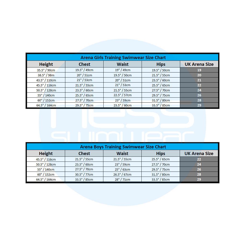 Arena Junior Training Swimwear Size Guides