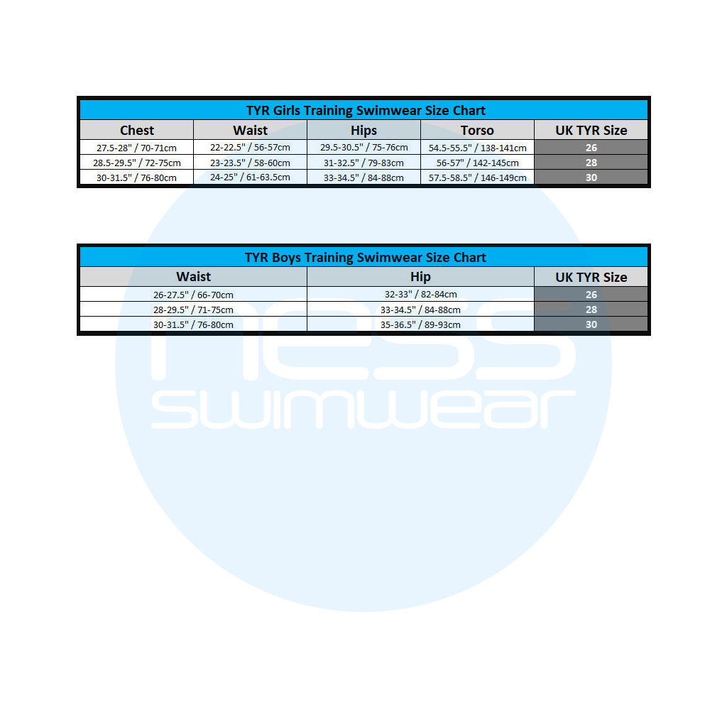 TYR Junior Size Charts