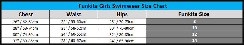 FUNKITA Girls Size Chart