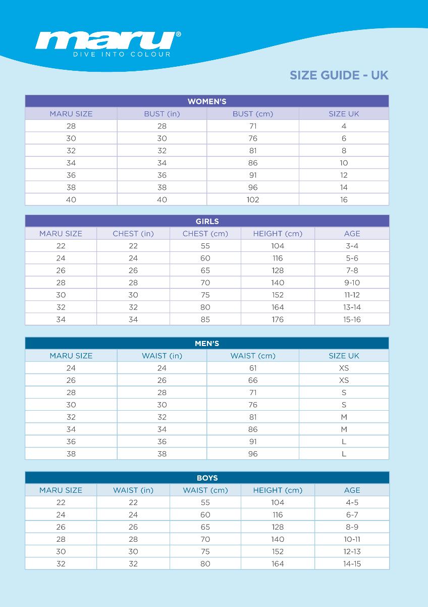 Maru Size Chart