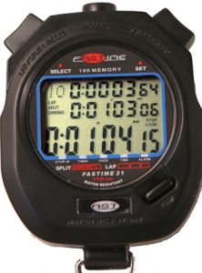 Front face display of stopwatch