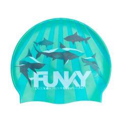 Funky Shark Bay Swimming Cap