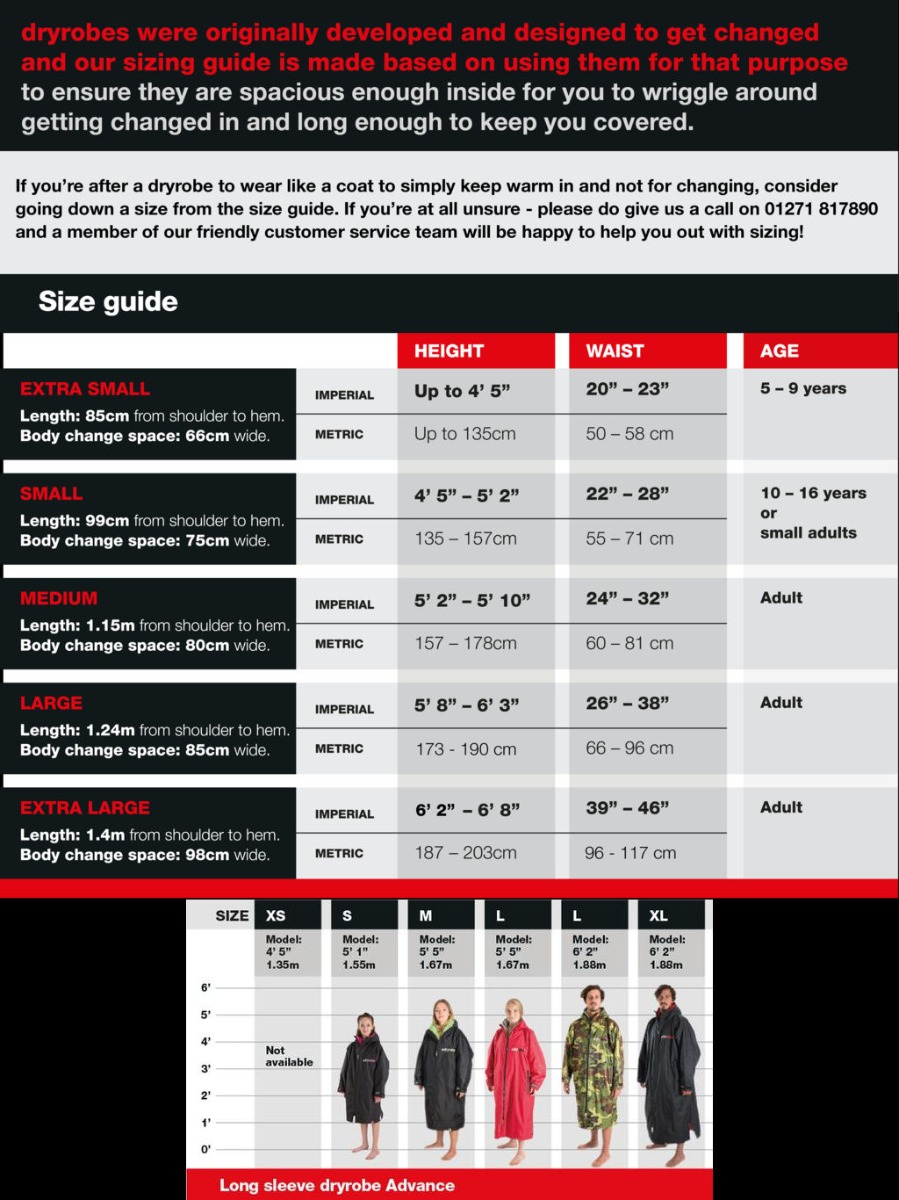 Dryrobe Size Guide