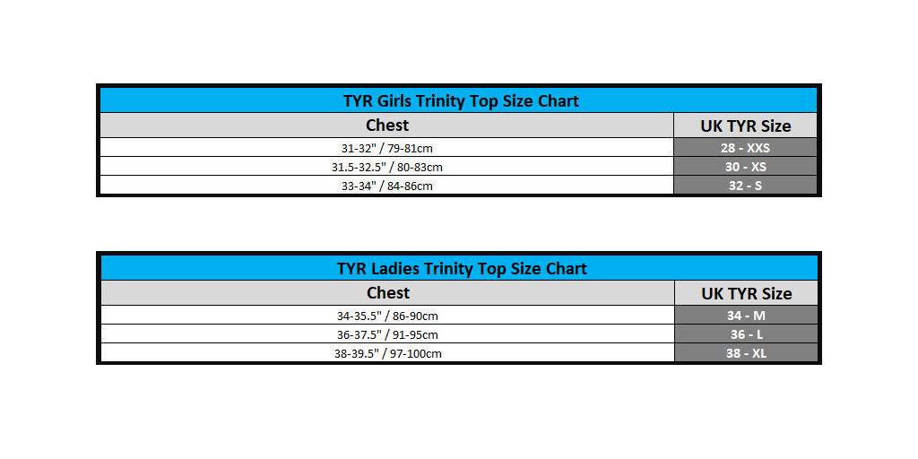 TYR Size Guide Trinity Tops
