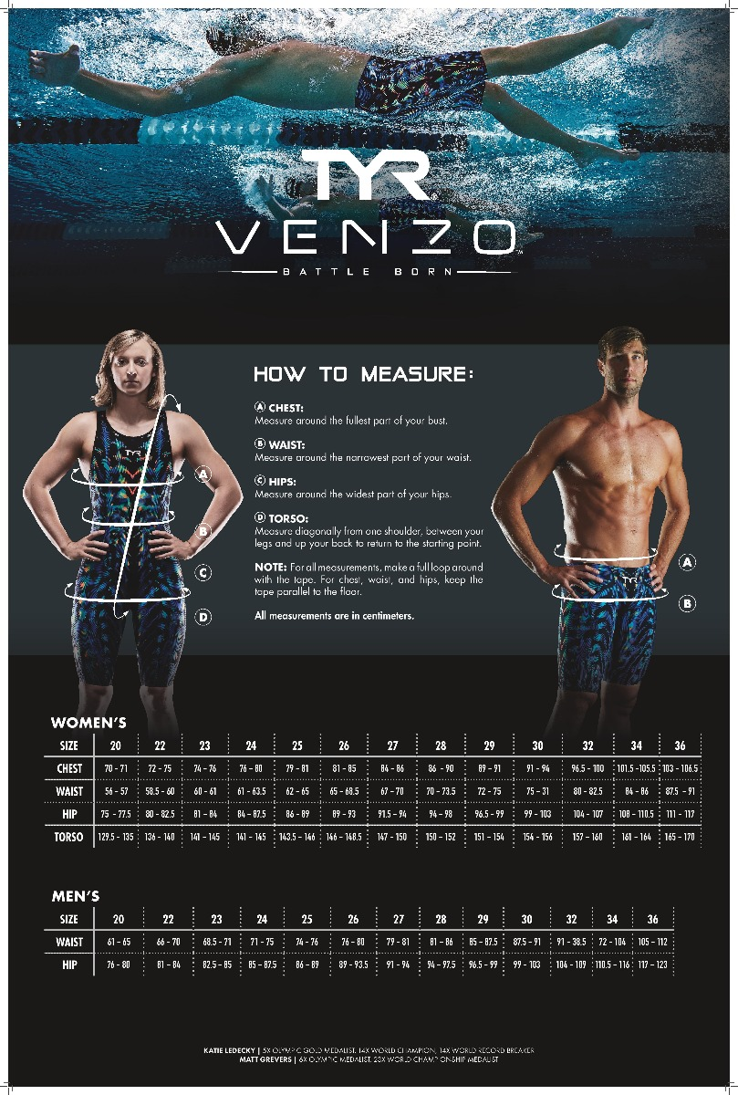Size Guide TYR Venzo